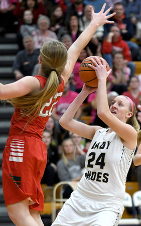 Teutopolis' Macy Michels puts a shot up as Effingham's Aly Armstrong attempts to block it at Teutopolis High School.<br /> Chet Piotrowski Jr./Piotrowski Studios