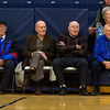 Teutopolis alums from the 1940s were honored at the high school before the Shoes' varsity contest against Champagin St. Thomas More Jan. 6. Pictured, from left to right, are Vic Deters, Wayne Behrns, Lyle Behrns and Gene Runde as they watch the junior varsity game unfold.