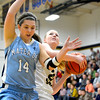 Teutopolis' Jamie Sandschafer drives to the basket against Breese Mater Dei's Logan Braundmeier.