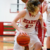 Effingham's Bria Barr dribbles in the post around the defense of Centralia's Nikita Maines during the Effingham Round Robin Tournament.