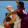 Cumberland's Kendra Boswell looks for a teammate while being guarded by Robinson's Daphne Phillippe.