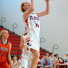 St. Anthony's Clare McHugh shoots a layup in a loss to Flora at St. Anthony High School.