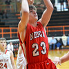 Neoga's Drew Ramert takes a jump shot during a win at the National Trail Conference Tournament against North Clay.