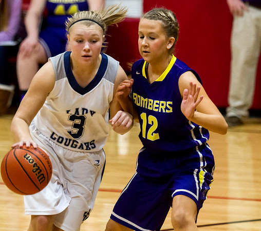 South Central's Abby Hahn (3) attempts to drive past Brownstown/St. Elmo's Deana Shelton during the National Trail Conference consolation championship semifinals.