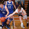 1-8-13<br /> NWHS vs Frankfort bball<br /> Northwestern's Jacob Wagner and Frankfort's Jacob Barnes battle over control of a loose ball during Tuesday night's game.<br /> KT photo | Kelly Lafferty