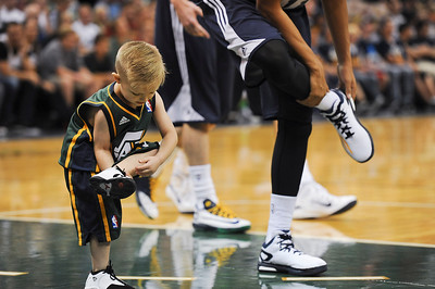 JP Gibson goes through all the warm ups with the Utah Jazz. For one day he was a official Jazz Player. At Energy Solutions in Salt Lake. On October 6, 2014