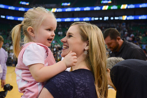 JP Gibson's mother Megan and his little sister Elsie have a personal celibration at the end of the Scrimmage. At Energy Solutions in Salt Lake. On October 6, 2014