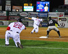 Josh Harrison, #10, of The Altoona Curve, takes a throw to putout the sliding Che-Hsuan Lin, of the Portland Sea Dogs. The visiting Curve defeated the Sea Dogs, 1-0, at Hadlock Field, on August 18th, 2010.