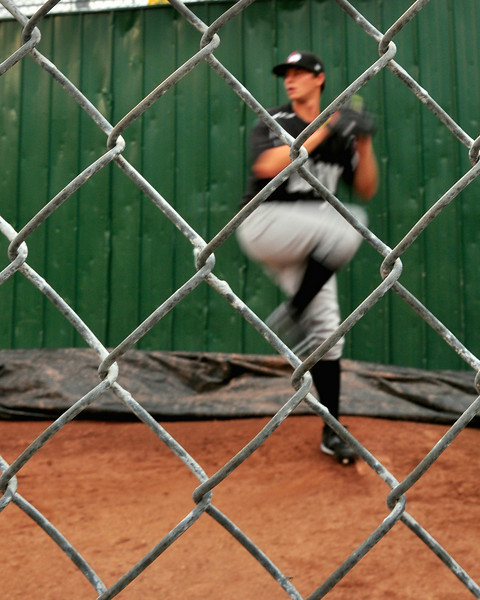 Redstone native, and former Kennett High School pitcher, Jeff Locke, warms up in the bullpen prior the game between The Altoona Curve and The Portland Sea Dogs. The 22 year old Locke recorded his first AA victory, 1-0, at Hadlock Field in Portland, on August 18th, 2010.