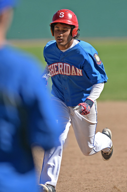 Mike Pruden | The Sheridan Press<br /> Sheridan's David Almaraz trots into third base during the second game of a doubleheader against Cody at Thorne-Rider Stadium Tuesday, June 12, 2018.