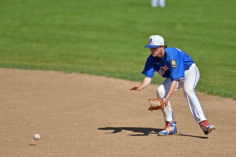 Mike Pruden | The Sheridan Press<br /> Sheridan's Dawson Lee fields a ground ball during the second game of a doubleheader against Cody at Thorne-Rider Stadium Tuesday, June 12, 2018.