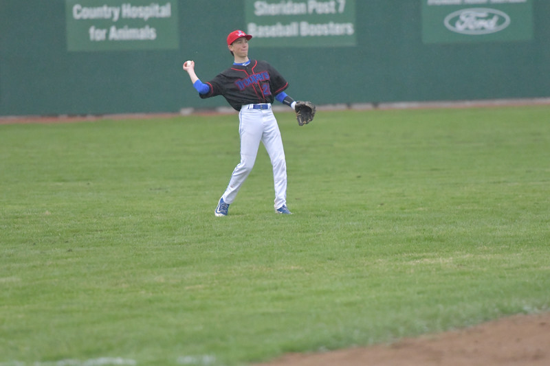 Ryan Patterson | The Sheridan Press<br /> Sheridan's Shane Karajanis throws the ball to the infield during a game against the Gillette Rustlers at Thorne-Rider Stadium Sunday, May 5, 2019. Karajanis had one run and one RBI in the Jets' 17-8 win.