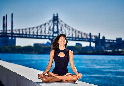 July 27, 2019 - New York, NY  Yoga / fitness model Johanna Sambucini captured on Roosevelt Island NYC Wearing Danz N Motion by Danshuz  and Nike  Photographer- Robert Altman Post-production- Robert Altman