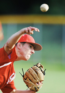 Globe/T. Rob Brown Carl Junction American Legion's Tyler Armentrout pitches to Joplin Tuesday evening, May 28, 2013, at Carl Junction High School's field.