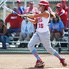 Webb City batter (15) watches the ball fly deep against Joplin during Saturday afternoon's game, Sept. 14, 2013, at the Joplin Athletic Complex softball field.<br /> Globe | T. Rob Brown