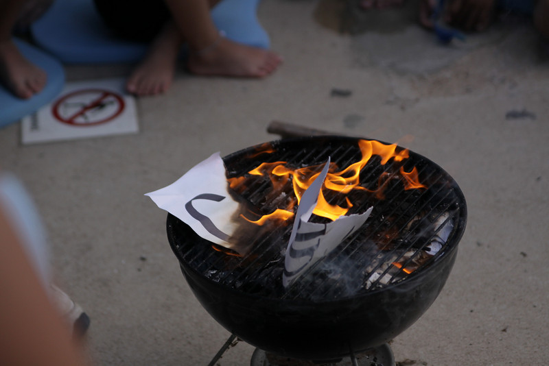 "The Dolphins traditional burning of the ""can't""s."