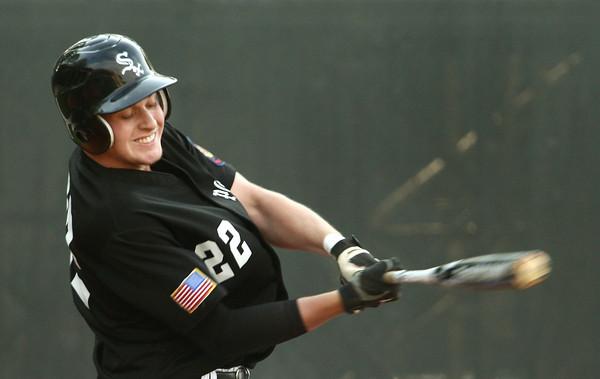 6-5-12<br /> Post 6 Baseball at Highland Park CFD Stadium.<br /> Drew Hansen at bat.<br /> KT photo   Tim Bath