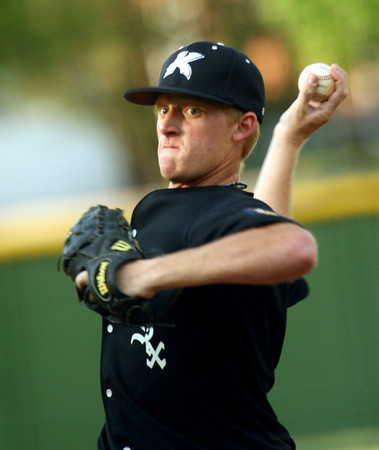 6-5-12<br /> Post 6 Baseball at Highland Park CFD Stadium.<br /> Bryce Rainey pitching<br /> KT photo | Tim Bath