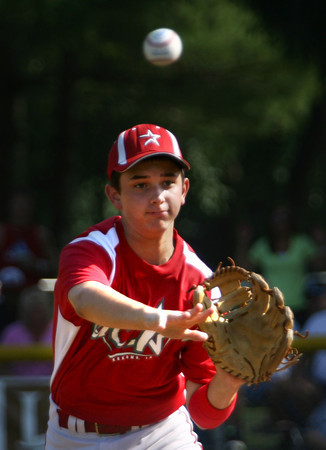 7-30-12<br /> UCT vs Scott County, Ky in the final game of the Ohio Valley Regional with UCT winning.<br /> Noah Hurlock  throwing to first to retire the 2nd inning.<br /> KT photo | Tim Bath
