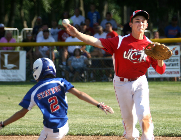 7-30-12<br /> UCT vs Scott County, Ky in the final game of the Ohio Valley Regional with UCT winning.<br /> Noah Hurlock throwing a double play  in the 5th inning.<br /> KT photo | Tim Bath
