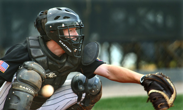 6-5-12<br /> Post 6 Baseball at Highland Park CFD Stadium.<br /> catcher missing the ball.<br /> KT photo | Tim Bath