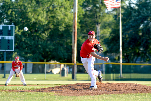 Vandalia Post 95 pitcher Jacob Behrends delivers at the District 23 tournament in Robinson against Teutopolis Post 924.