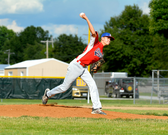 Effingham Post 120 pitcher Will Clausius delivers a pitch against Dieterich Post 628 during the District 23 tournament.