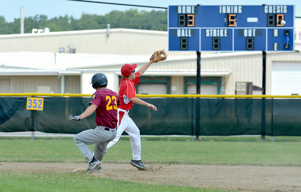 Dieterich Post 628's Trenton Poe beats a throw to second base during a game against Vandalia Post 95.