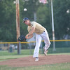 Teutopolis Post 924 pitcher Andy Borries fires toward home against Vandalia Post 95 at the District 23 senior tournament.
