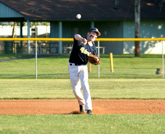 Teutopolis Post 924 shortstop Devin Smith throws to first during the District 23 senior tournament in Robinson.