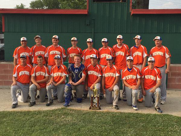 Newton Post 20 celebrates advancing to state tournament from the Junior Legion Fifth Division Tournament in Salem.