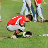 Effingham Post 120's Parker Seachrist reacts after Post 120's season ended at the Divisional Tournament in Metropolis.