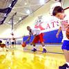 7-23-14 <br /> KHS boys basketball coach Matt Moore holding a basketball clinic for kids in grade 1-8.Jack Sullivan dribbling during one of the drills.<br /> Tim Bath | Kokomo Tribune