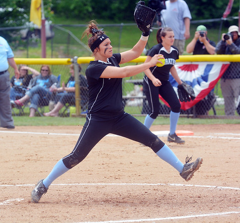 Cumberland's Kaylee Carlen winds and fires a pitch during the Class 1A championship game against Milledgeville.