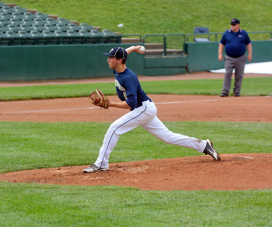 Teutopolis' Jared Waldhoff prepares to release a pitch during the Wooden Shoes' Class 2A third-place game against Eureka at Dozer Park in Peoria. Waldhoff fired a five-inning shutout in the 7-0 win.