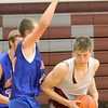 Dieterich forward Devin Aherin makes a post move in the paint against a Newton defender during a scrimmage.