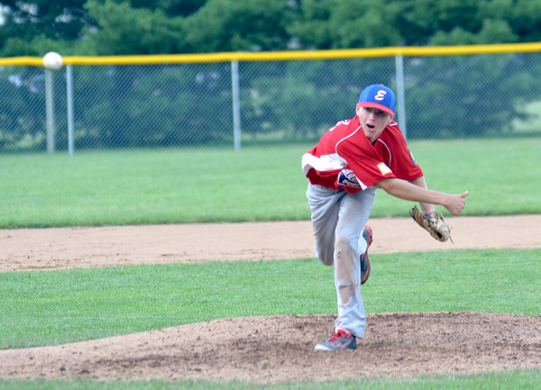 Effingham Junior Post 120 starting pitcher Bryar Jansen throws a pitch during the team's 5-3 win over Macon County as part of the Mattoon Firecracker tournament at Lake Land College