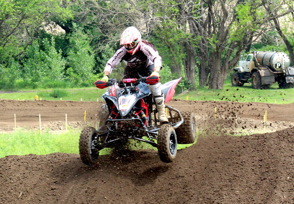 Kevin Pocrnich comes over a ridge during a race earlier this season. Pocrnich, of Effingham, leads Class 16 (40+ year-old division) of the Mountain Dew ATV Motocross Championship.