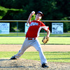 Effingham Post 120 pitcher Zach Gardewine delivers a pitch to an unseen Vandalia Post 95 batter at Vandalia High School.