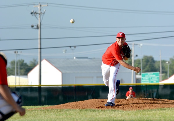 Vandalia Post 95's Jacob Behrends (Brownstown/St. Elmo) delivers a pitch toward home plate during a 3-1 win over Teutopolis Post 924.