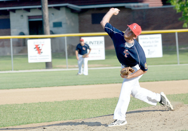 Shelby County Posts 289/611/725 starting pitcher Christian Vonderheide delivers a pitch during the team's 5-2 win against Vandalia Post 95.