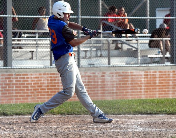 Newton Post 20's Connor Bierman connects with a pitch during a game against Effingham Post 120 at Paul Smith Field.<br /> Chet Piotrowski Jr./Piotrowski Studios