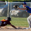 Newton Post 20's Connor Bierman (right) tries to complete the pickoff attempt at first on Dieterich Post 628's Ryan Radloff (left).