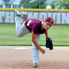 Dieterich Post 628's Briar Schmidt watches a pitch fly toward an unseen Olney Post 30 batter.