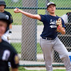 South Central Post 519 pitcher Trent Geiler makes a throw on the run to first base during game one of a doubleheader against Olney Post 30.