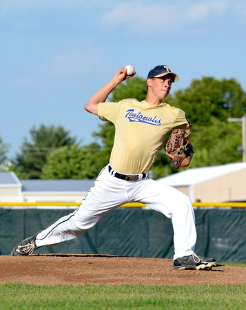 Teutopolis Post 924 starting pitcher Lee Hardiek delivers during a win over Altamont Post 512 at Teutopolis High School.