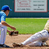Teutopolis Post 924's Jack Goeckner is thrown out at second base during a stolen base attempt in the first inning in Mattoon. Goeckner went 2-4, but reached base on each of his at-bats as his team defeated Moline Post 246 6-1 in the Junior American Legion Firecracker Classic.