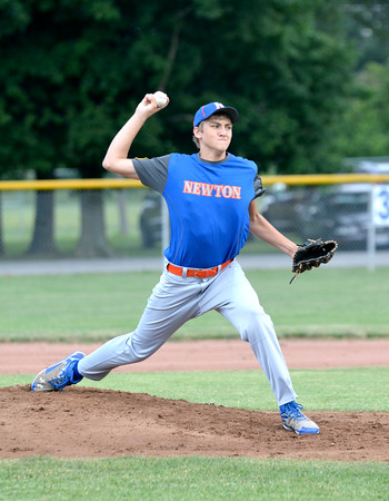 Newton Post 20's Nick Cohorst delivers a pitch during a game against Teutopolis Post 924.