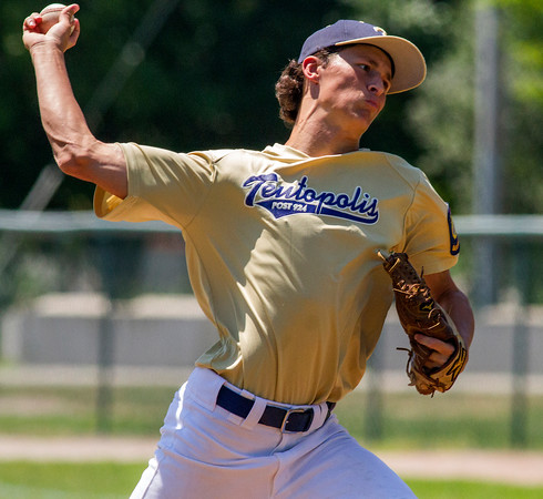 Teutopolis' Collin Funneman is seen just before releasing a pitch during a game.
