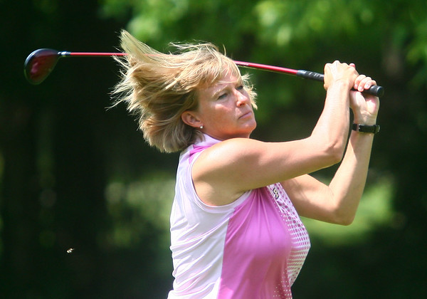 6-25-14<br /> Purdue women's basketball coach, Sharon Versyp, plays a round of golf at Chippendale Golf Club in Kokomo during the annual Indiana Basketball Hall of Fame golf outing.<br /> Kelly Lafferty | Kokomo Tribune